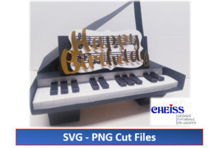 3D Birthday Piano Pop-Up Card Graphic 3D SVG By Cheiss Designs