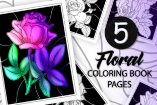 Print on Demand: 5 Floral Coloring Book Pages Graphic Coloring Pages & Books Adults By JM_Graphics