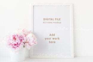 A3 Frame Mockup Peonies - Psd Png Graphic Product Mockups By White Hart Design Co.