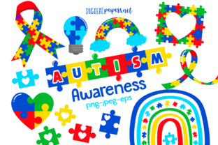 Print on Demand: Clipart de Conciencia del Autismo Gráfico Ilustraciones Por DigitalPapers