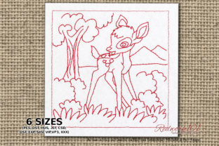 Baby Deer Standing in the Forest Redwork Baby Animals Embroidery Design By Redwork101