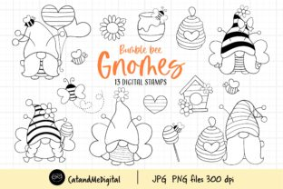 Bumble Bee Gnomes Digital Stamp Graphic Illustrations By CatAndMe