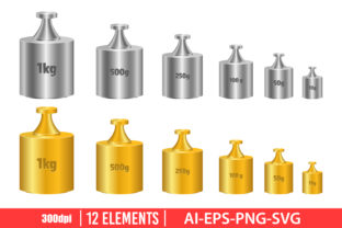 Calibration Weight Clipart Set Graphic Illustrations By Emil Timplaru Store