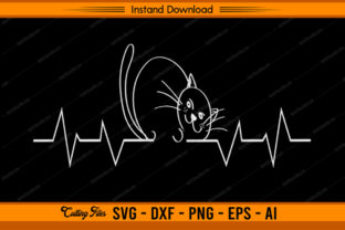 Cat Heartbeat Graphic Print Templates By sketchbundle