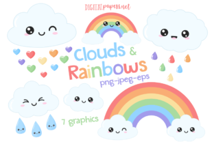 Print on Demand: Clouds & Rainbows Clipart Set Graphic Illustrations By DigitalPapers