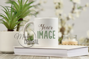 Coffee Mug Cup Mockup on Spring Table Graphic Product Mockups By Mockup Central