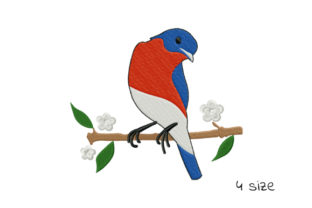 Print on Demand: Cute Bird on a Branch Birds Embroidery Design By EmbArt