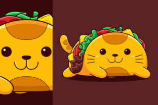 Cute Taco Cat Vector Cartoon Style Graphic Illustrations By medzcreative