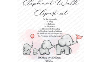 Elephant Walking Clipart Set Graphic Illustrations By Marelia Designs