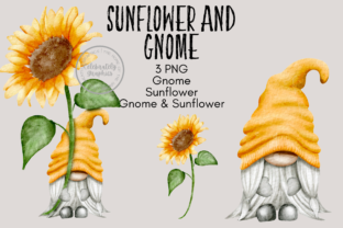 Print on Demand: Gnome and Sunflower Clipart Graphic Illustrations By Celebrately Graphics