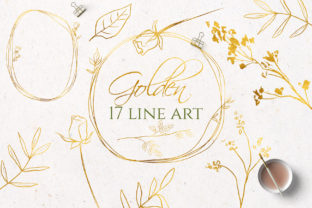 Gold Line Art Flowers Clipart Graphic Illustrations By lena-dorosh
