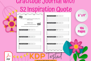 Gratitude Journal 52 Inspirational Quote Graphic KDP Interiors By GraphicTech360