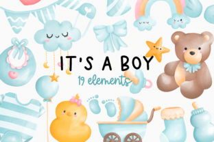 Print on Demand: It's a Boy Clipart, Baby Boy Shower Graphic Illustrations By Chonnieartwork