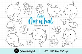 Narwhal Digital Stamp Clipart Graphic Illustrations By CatAndMe