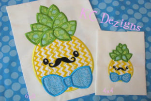 Pineapple with Bow Tie Applique Design Boys & Girls Embroidery Design By karen50