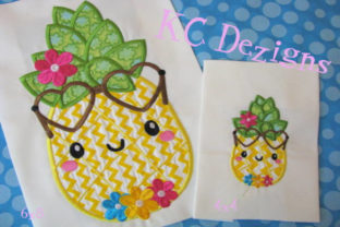 Pineapple with Flowers Applique Design Boys & Girls Embroidery Design By karen50