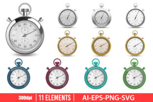 Retro Stopwatch Clipart Set Graphic Illustrations By Emil Timplaru Store