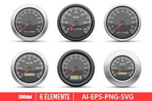 Speedometer Clipart Set Graphic Illustrations By Emil Timplaru Store
