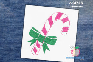 Sweet Candy Cane with Bow Quick Stitch Dessert & Sweets Embroidery Design By embroiderydesigns101