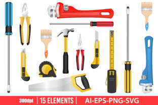 Tools Clipart Set Graphic Illustrations By Emil Timplaru Store