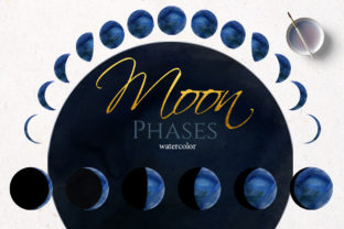 Watercolor Blue Moon Phase Graphic Illustrations By lena-dorosh