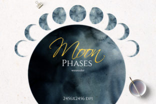 Watercolor Moon Phases Graphic Illustrations By lena-dorosh