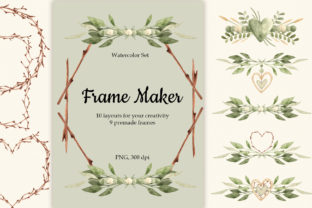 """Print on Demand: Watercolor Set """"Frame Maker"""" Graphic Graphic Templates By SirenaArt 1"""
