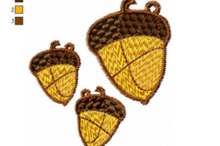 Acorn Earrings and Pendant Forest & Trees Embroidery Design By EmbDesigns