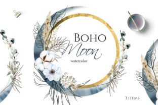 Print on Demand: Boho Round Floral Frame with Blue Moon Graphic Illustrations By Elena Dorosh Art 1