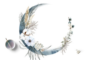 Print on Demand: Boho Round Floral Frame with Blue Moon Graphic Illustrations By Elena Dorosh Art 2
