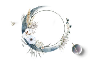 Print on Demand: Boho Round Floral Frame with Blue Moon Graphic Illustrations By Elena Dorosh Art 3