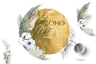 Boho Round Floral Frame with Moon Graphic Illustrations By lena-dorosh