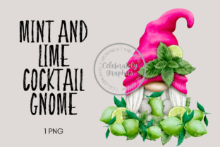Cocktail Gnome Mint and Lime Clipart Graphic Illustrations By Celebrately Graphics