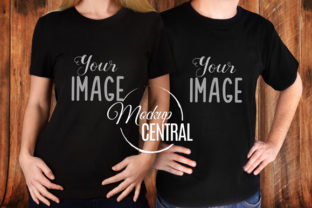 Couple's Matching Black T-Shirts Mockup Graphic Product Mockups By Mockup Central
