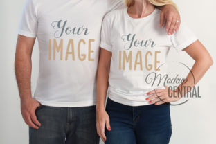 Couple's White Matching T-Shirt Mockup Graphic Product Mockups By Mockup Central