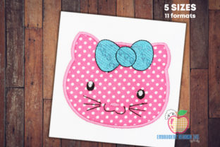 Cute Kitty Cat Applique for Kids Cats Embroidery Design By embroiderydesigns101