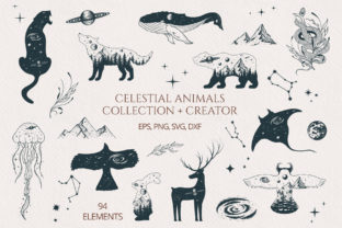 Hand Drawn Celestial Animals Collection Graphic Illustrations By Kirill's Workshop