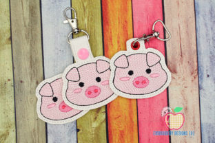 Image of Pig Face ITH KeyFob Snaptab Wild Animals Embroidery Design By embroiderydesigns101