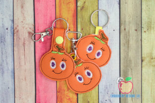 Juicy Persimmon ITH Snaptab Keyfob Food & Dining Embroidery Design By embroiderydesigns101