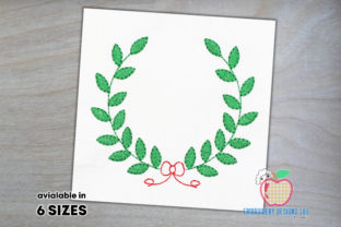 Laurel Wreath for Bow Quick Stitch Floral Wreaths Embroidery Design By embroiderydesigns101