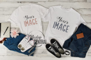Matching Couple Twin T-Shirts Mockup Graphic Product Mockups By Mockup Central