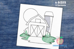 Old Wooden Barn Quick Stitch Cities & Villages Embroidery Design By embroiderydesigns101
