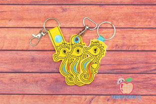 Seahorse ITH Snaptab Keyfob Design Marine Mammals Embroidery Design By embroiderydesigns101