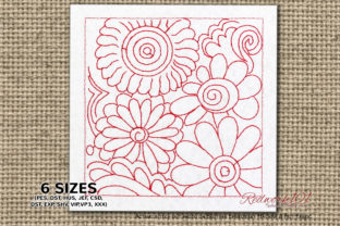 Seamless Flower Pattern Lineart Bouquets & Bunches Embroidery Design By Redwork101