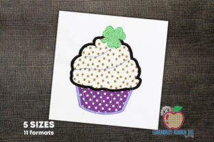 Shamrock Cupcake Applique Pattern Dessert & Sweets Embroidery Design By embroiderydesigns101