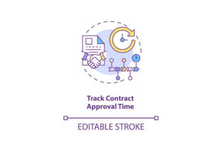 Print on Demand: Track Contract Approval Time Icon Graphic Icons By bsd studio