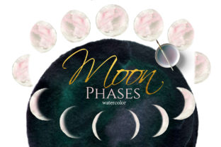 Watercolor Pink Moon Phases Graphic Illustrations By lena-dorosh