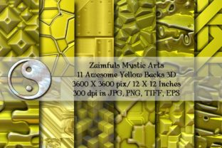Print on Demand: 12 More 3D Yellow Backgrounds Graphic Backgrounds By Zaimfuls Mystic Arts