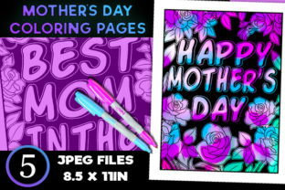 Print on Demand: 5 Mother's Day Coloring Book Pages Graphic Coloring Pages & Books Adults By JM_Graphics