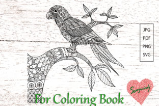 Abstract Parrot for Adult Coloring Book. Graphic Coloring Pages & Books Adults By somjaicindy